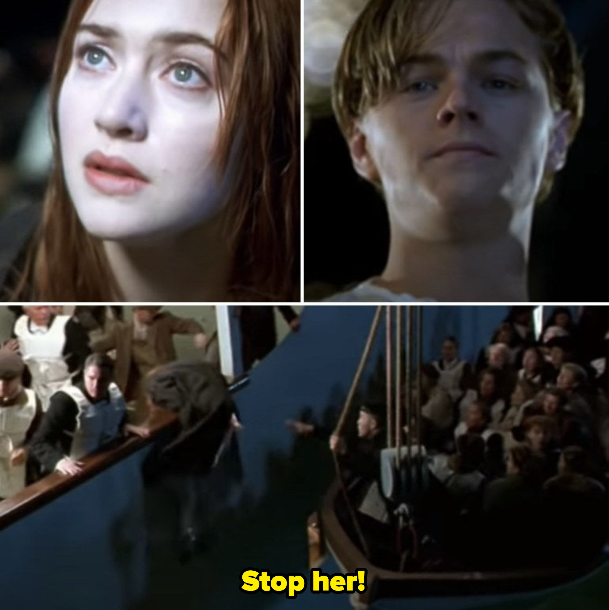 Rose and Jack are looking at each other lovingly, ready to part and die without each other; Rose panics and jumps back on the Titanic