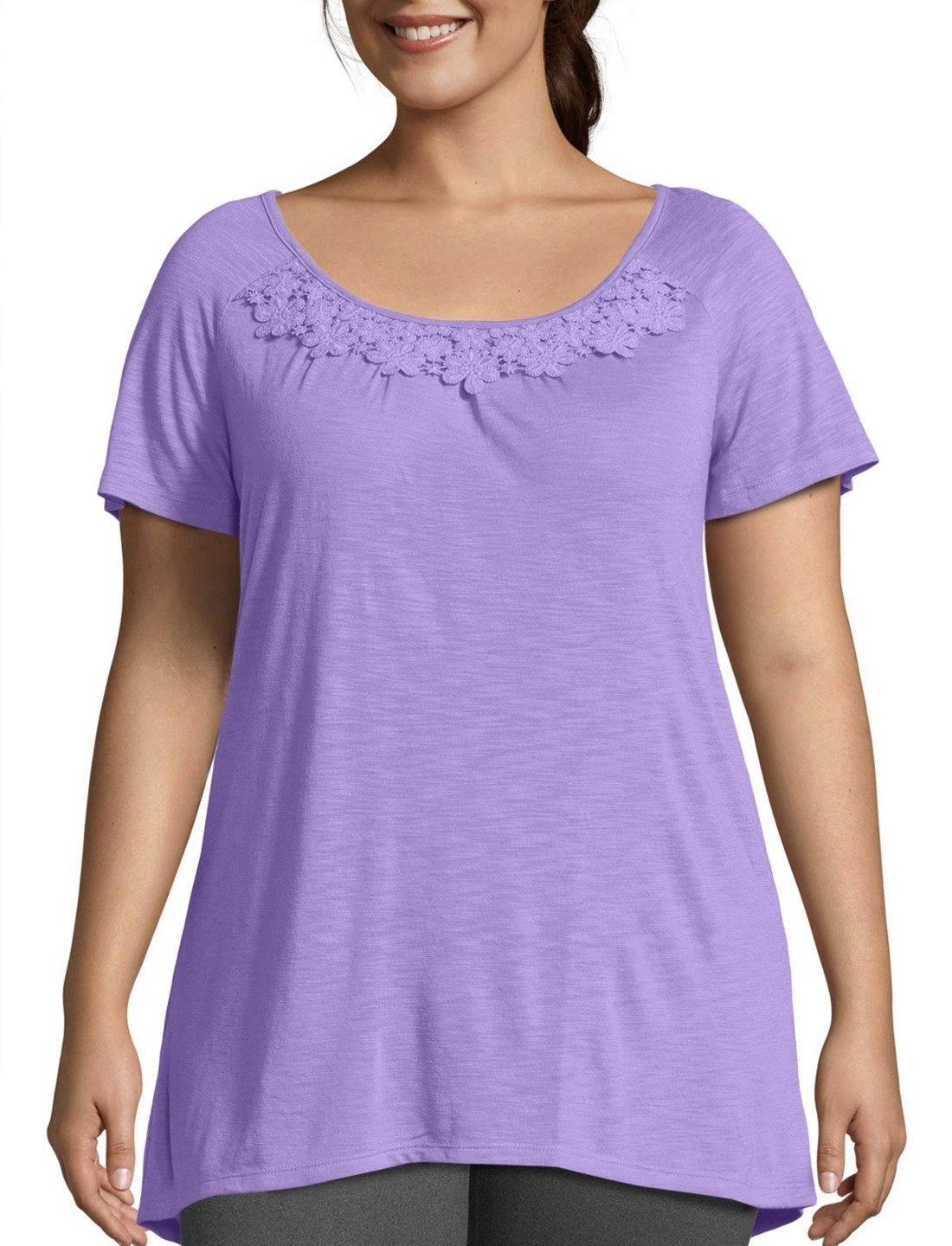 Model in the purple T-shirt with lace collar