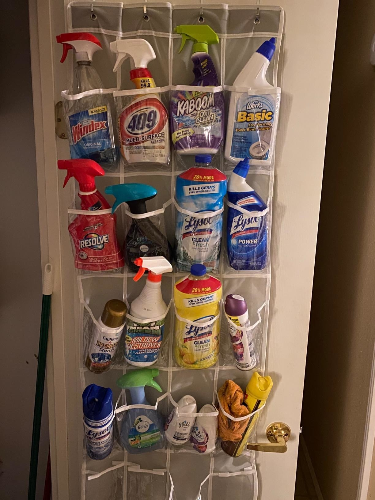 Reviewer photo of the organizer hanging from the back of a door, filled with cleaning supplies