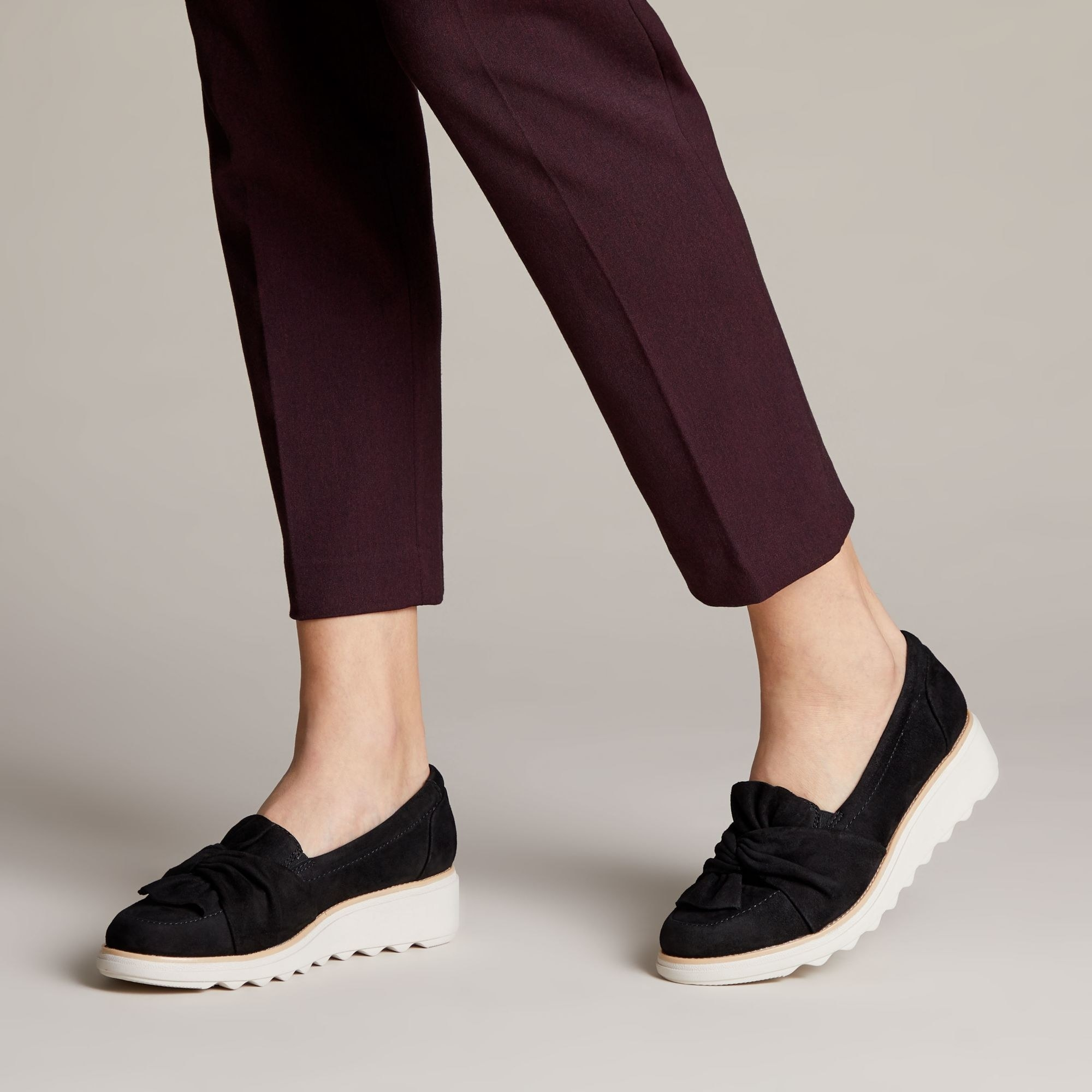 knot front loafers with elevated grooved soles