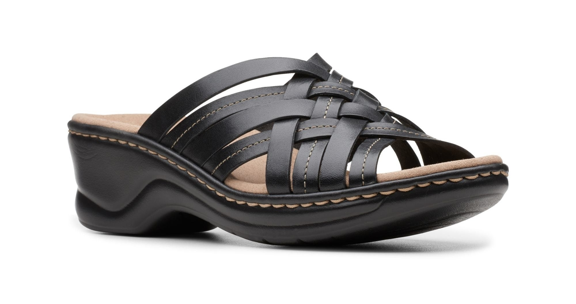 small heeled sandal with cushy beddy and woven front
