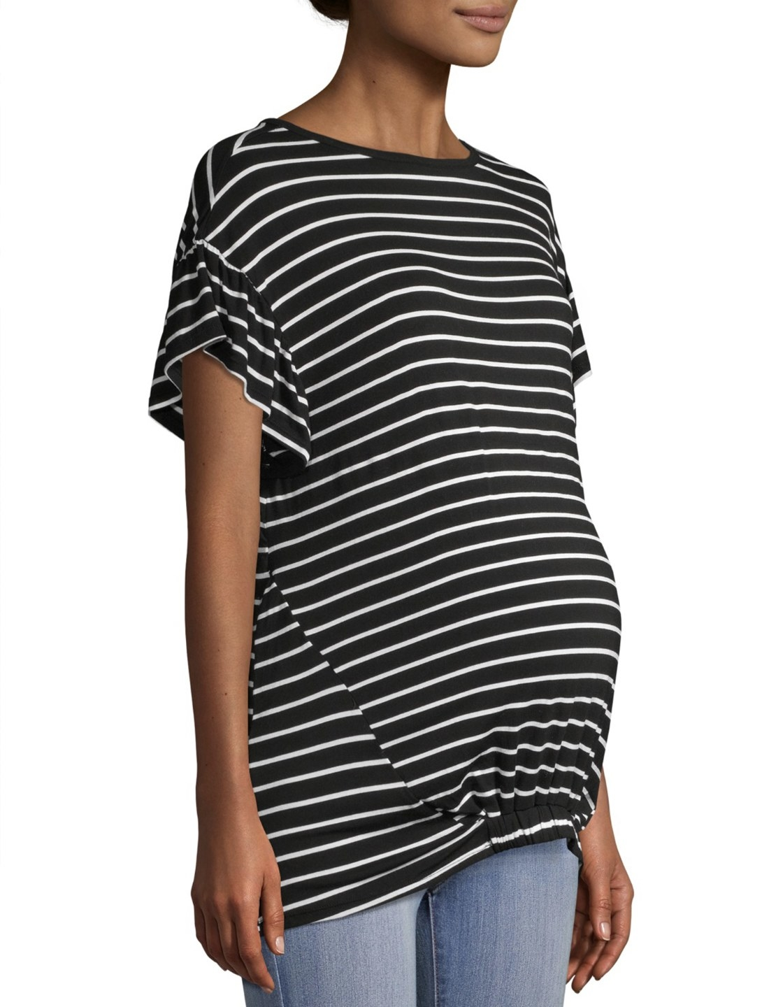 Pregnant model in the black and white maternity T-shirt