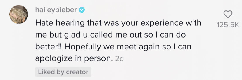 Screenshot of Hailey Bieber apologizing