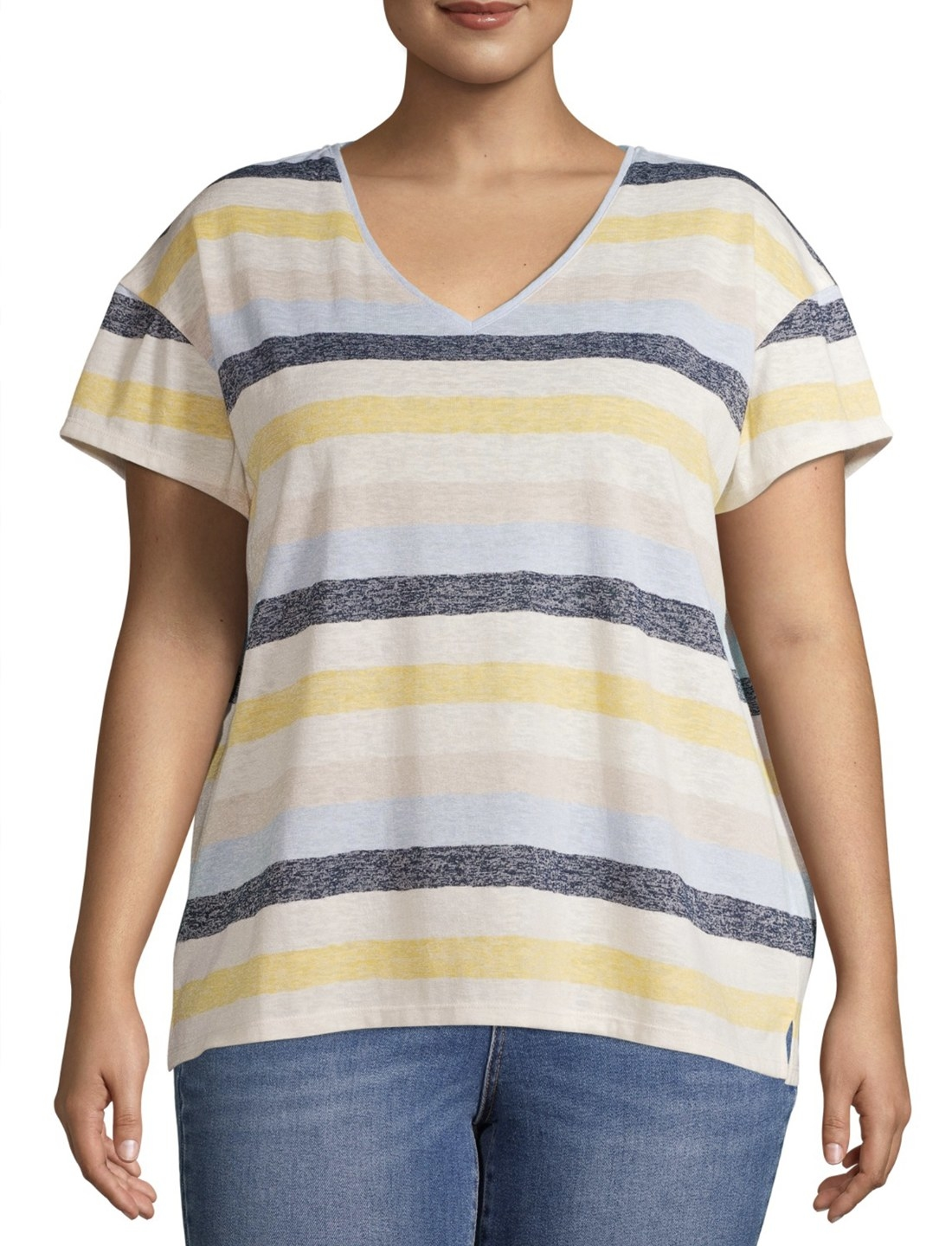 Model in the blue white and yellow striped short sleeve shirt