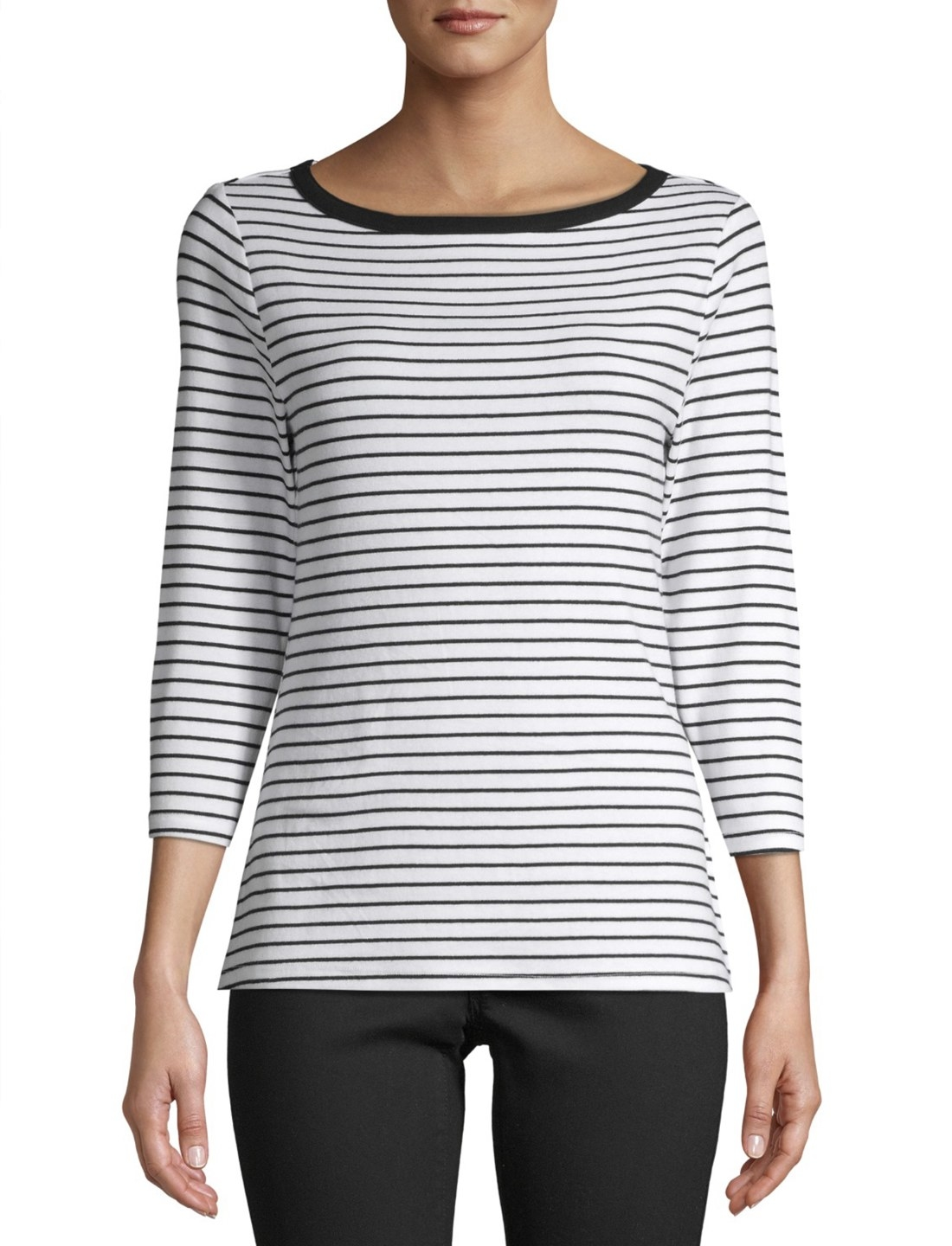 Model in the black and white striped quarter-sleeve shirt