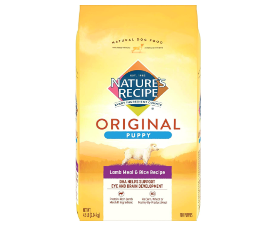 """Yellow bag of dry puppy food that says """"Nature's Recipe Original Puppy Lamb Meal & Rice Recipe)"""