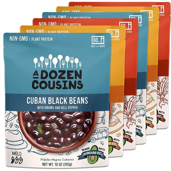 Five bags of A Dozen Cousins ready to eat seasoned beans.