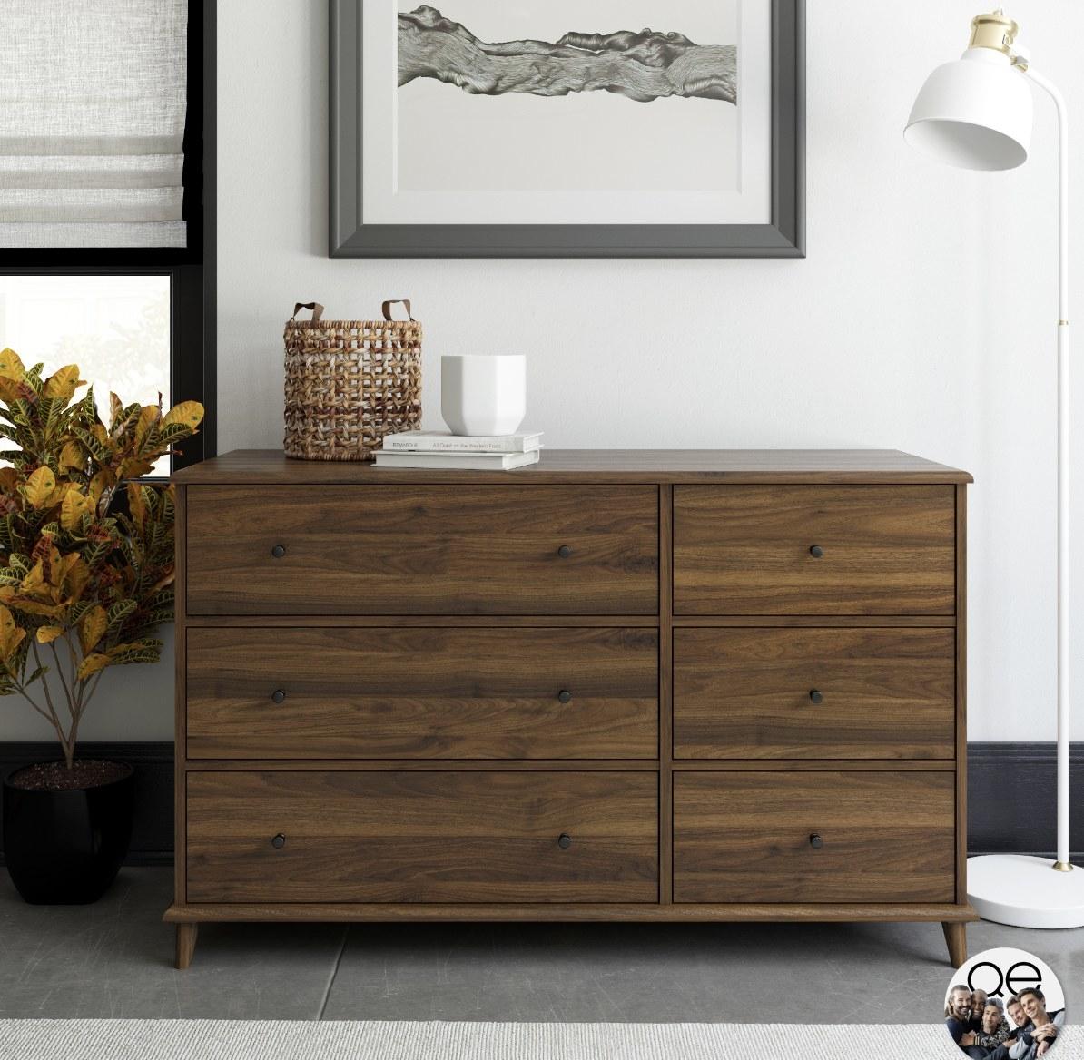 the walnut six-drawer dresser
