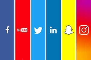 Various social media logos all lined up side by side