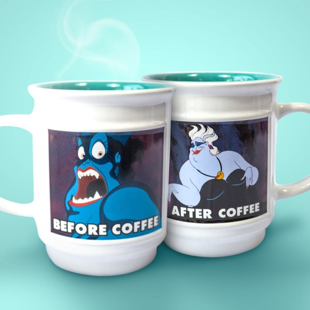 "one side of a mug with a scary version of ursula that says ""before coffee"" the other side has a nicer looking version of her that says ""after coffee"""