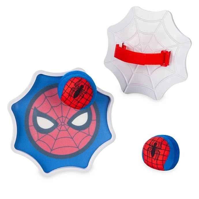 The set, which has two web-shaped mitts with handles on the back and a Spider-Man design printed on the hook-and-loop fastening on the front, plus two Spider-Man print balls