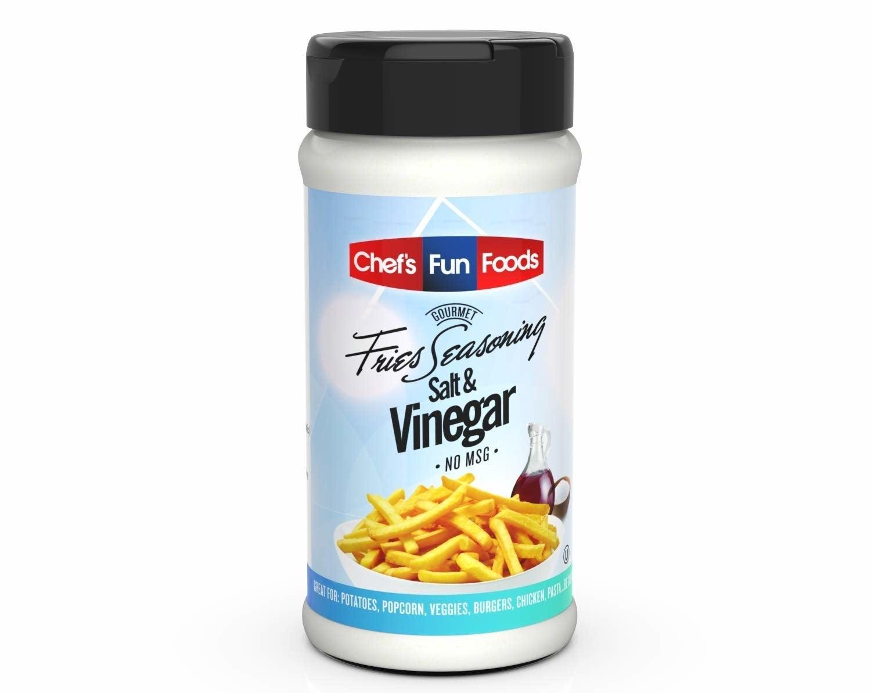A bottle of Gourmet Fries Seasonings Salt and Vinegar.