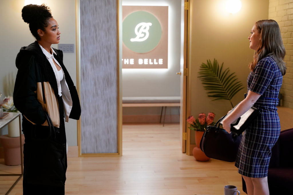 A scene from The Bold Type featuring Aisha Dee and Alex Paxton-Beesley.