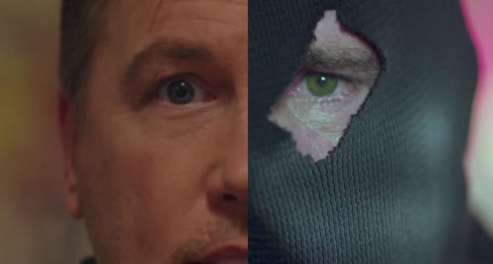 Clear contrast between eye colors of Hal and the Black Hood