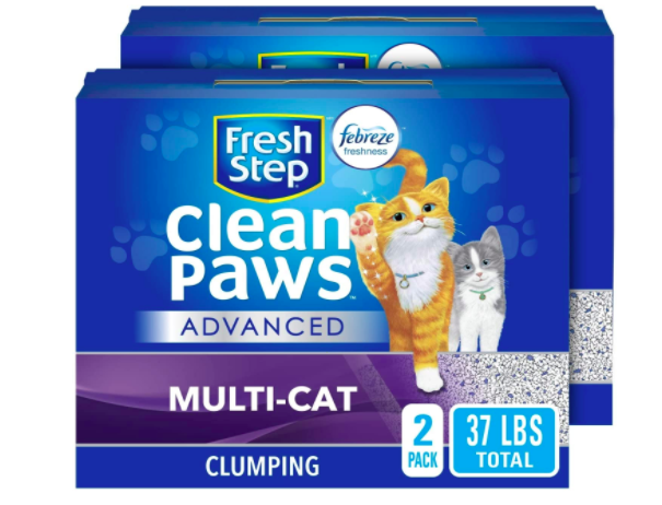 Two packages of Fresh Step Clean Paws Advanced Multi-Cat litter