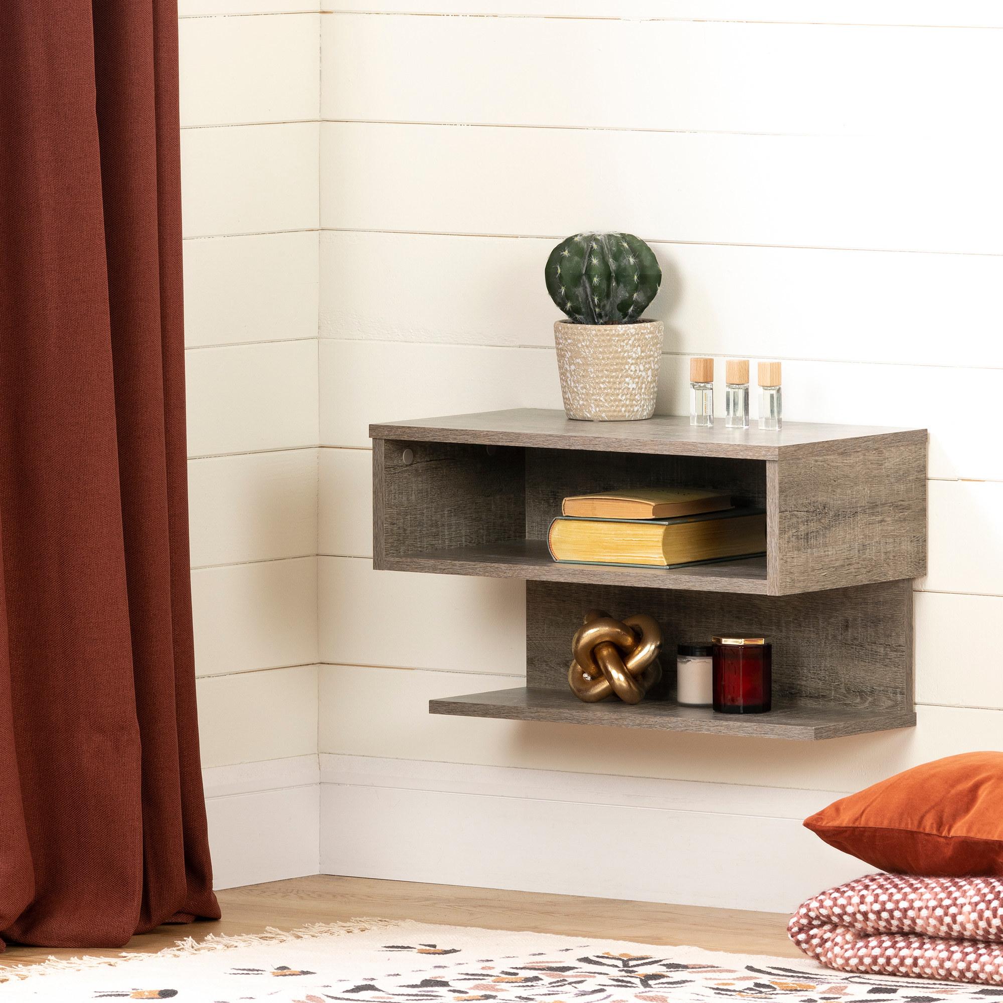the weathered oak floating nightstand