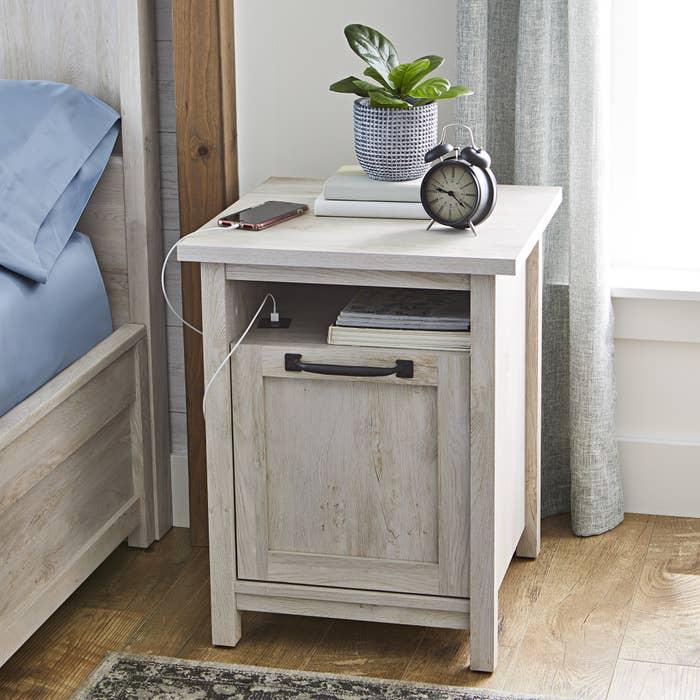 the rustic white nightstand