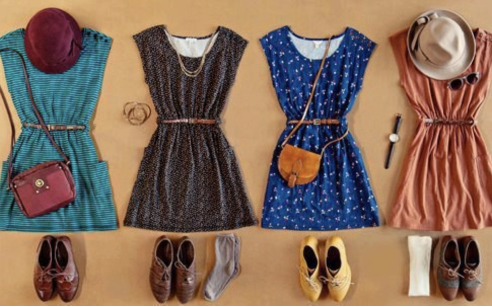 Selection of colorful skater dresses paired with shoes
