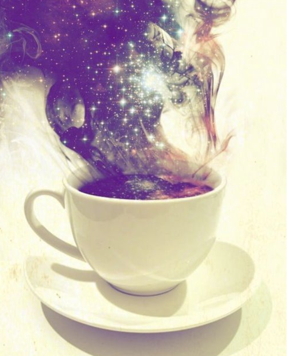 Glitter rising from a cup of coffee's steam
