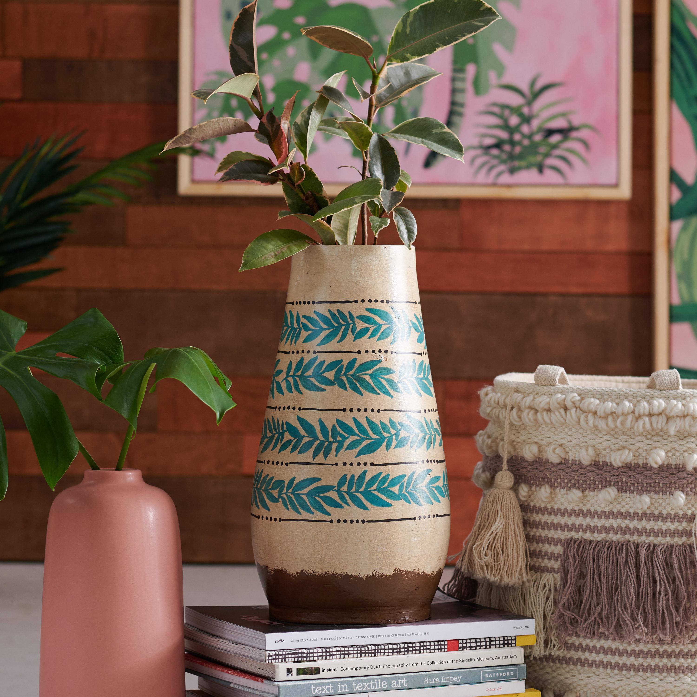 a vintage palm print vase