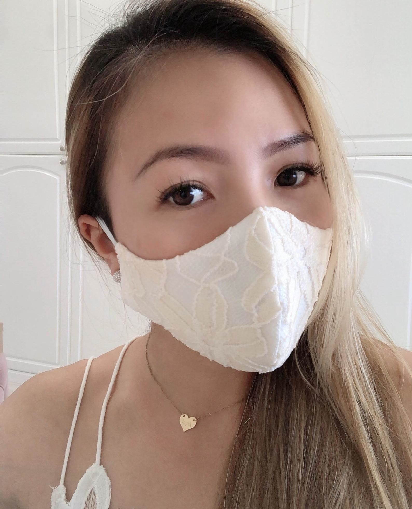 A model in a white lace face mask
