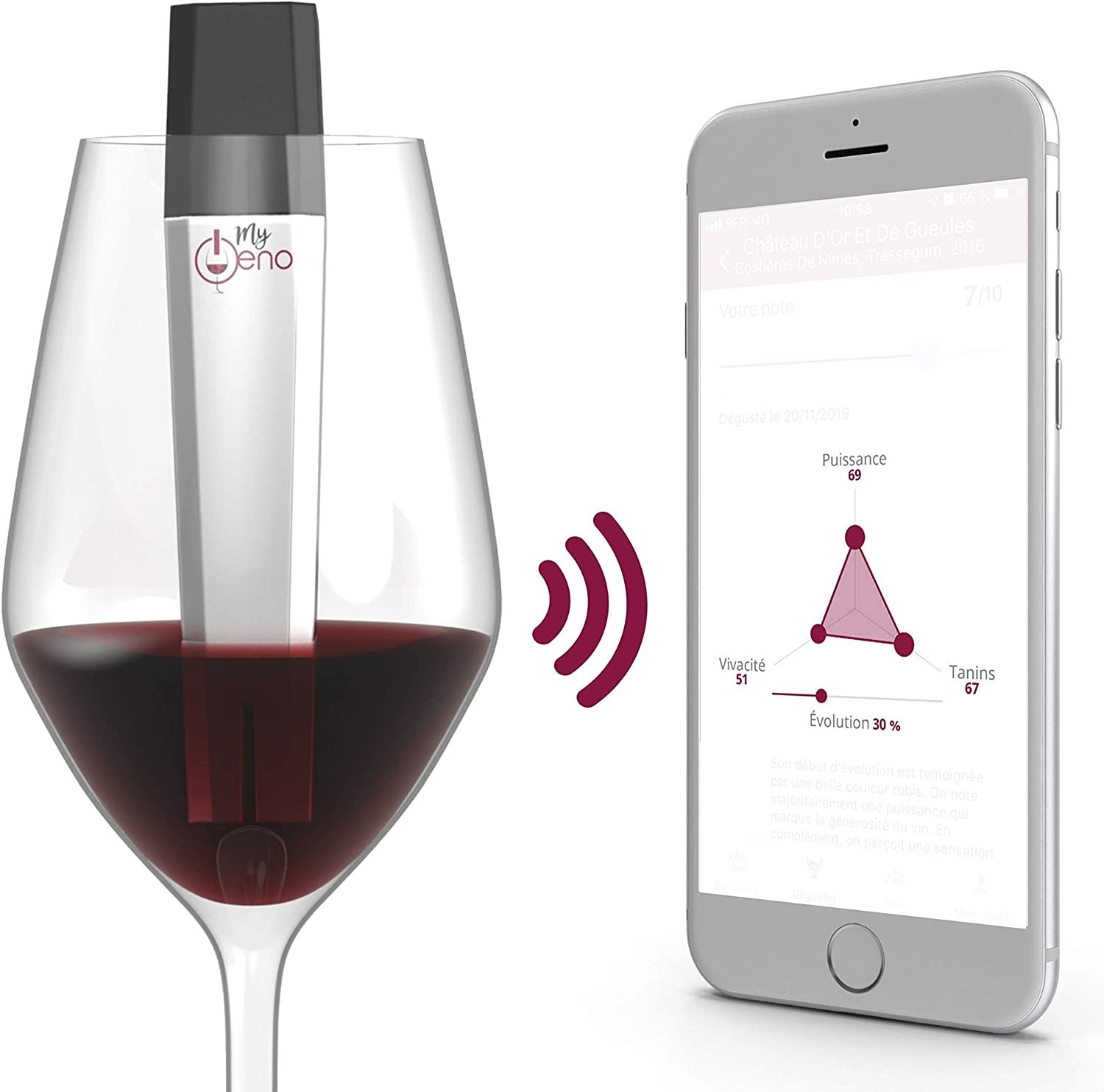 A glass of wine with a scanner in it sending information to a smartphone