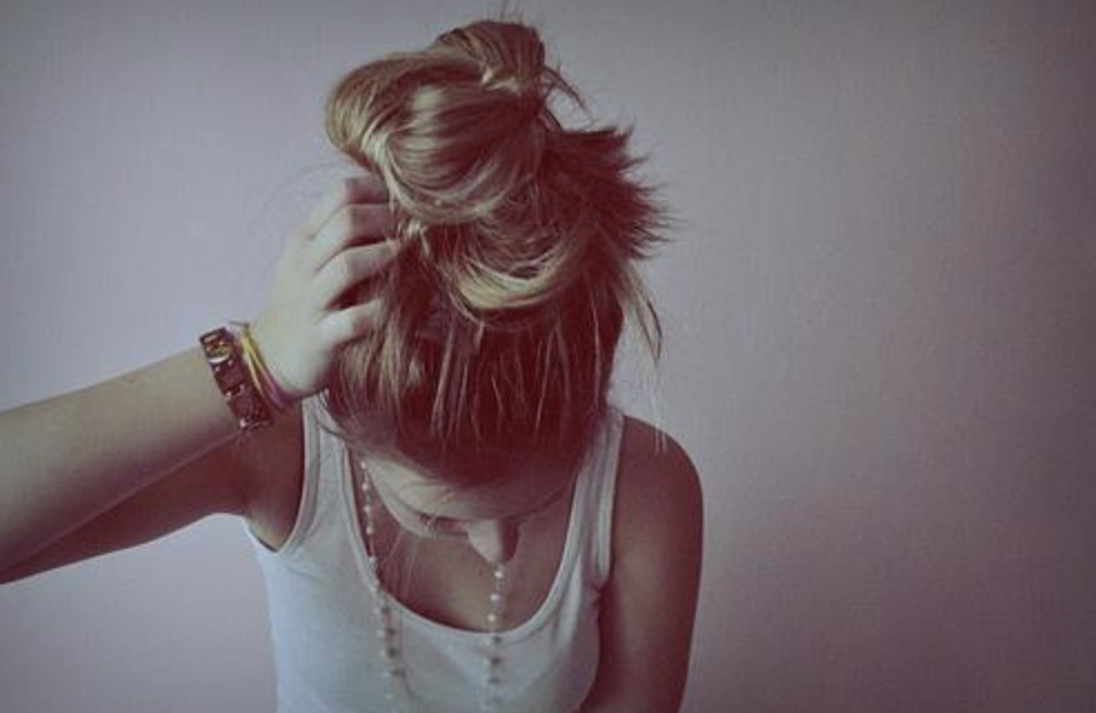 Girl with a bun in her hair