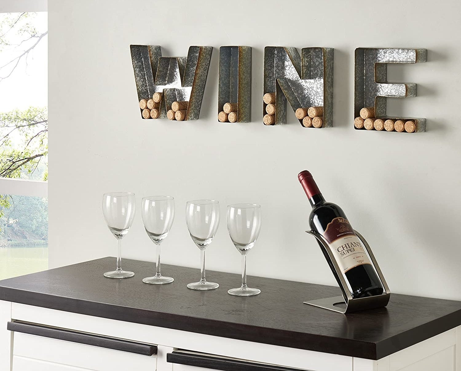 The word wine is spelled out with corks in the letters