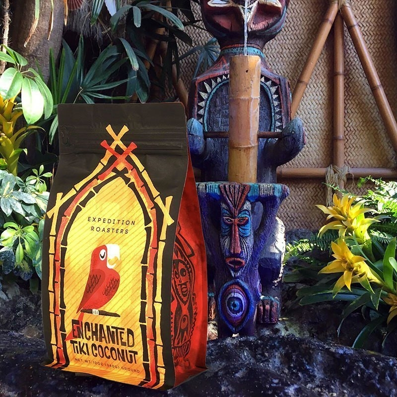 a bag of coffee inspired by disney's enchanted tiki room