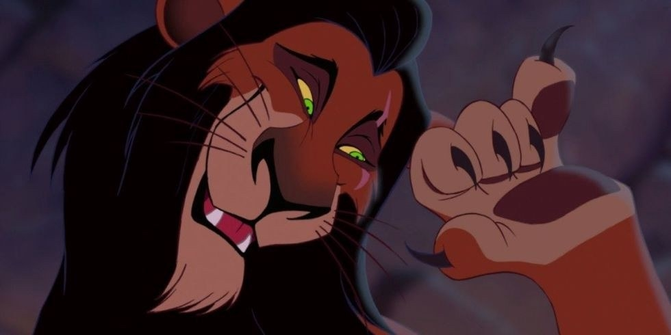 Scar curling his paw up with a mischievous grin on his face, lying to Simba