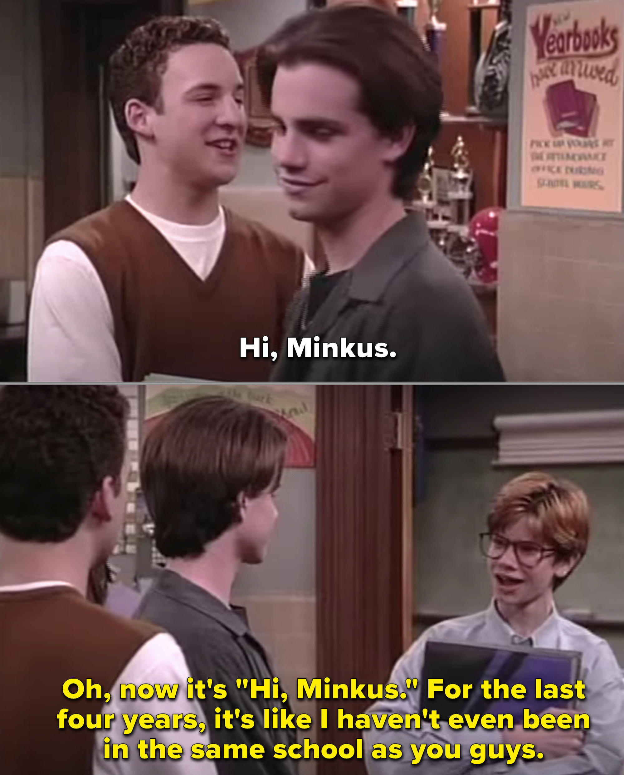 Minkus appearing as a teenager for one random episode