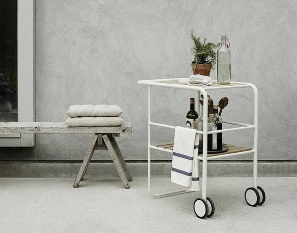 The silver white serving trolley