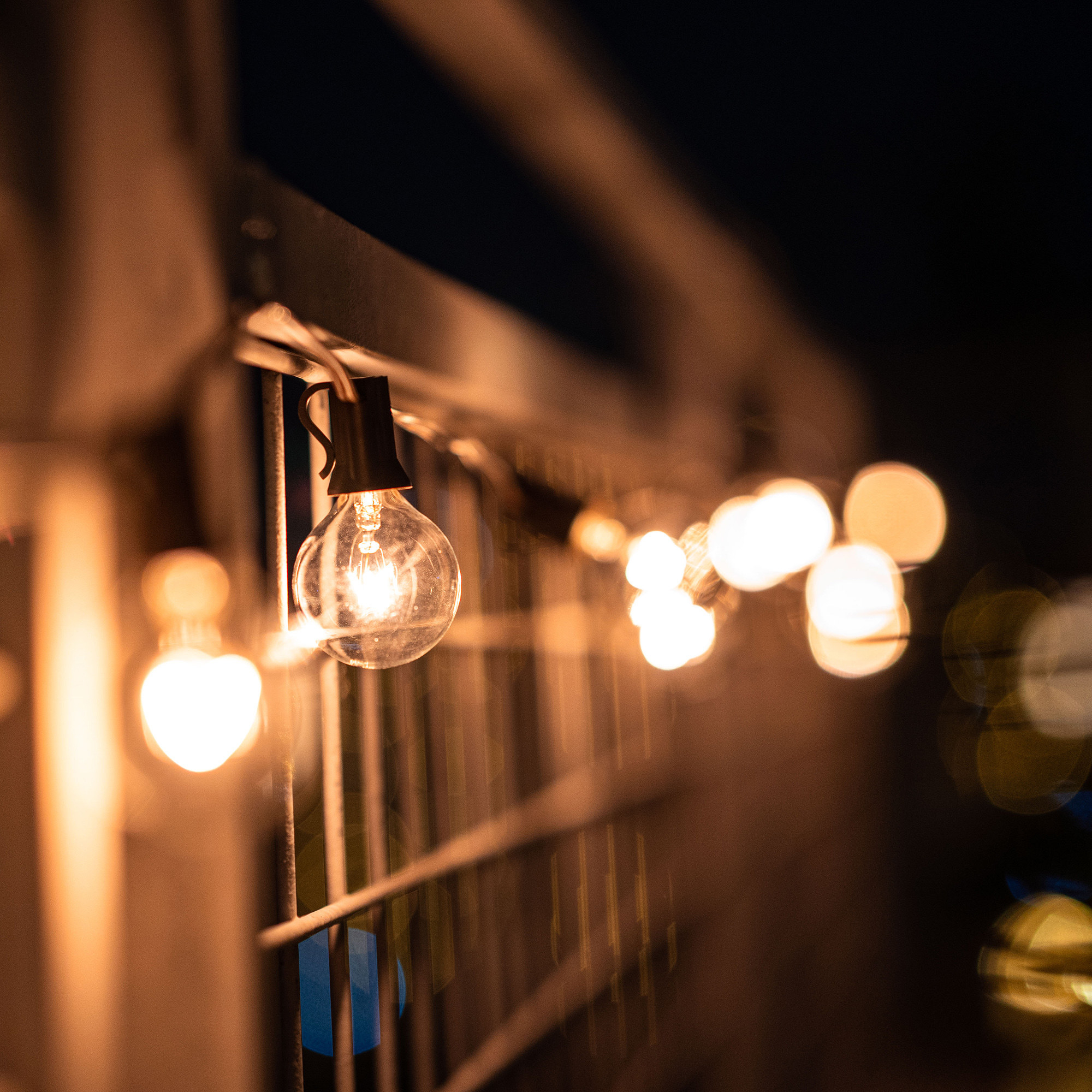 A set of lit-up brown outdoor string lights