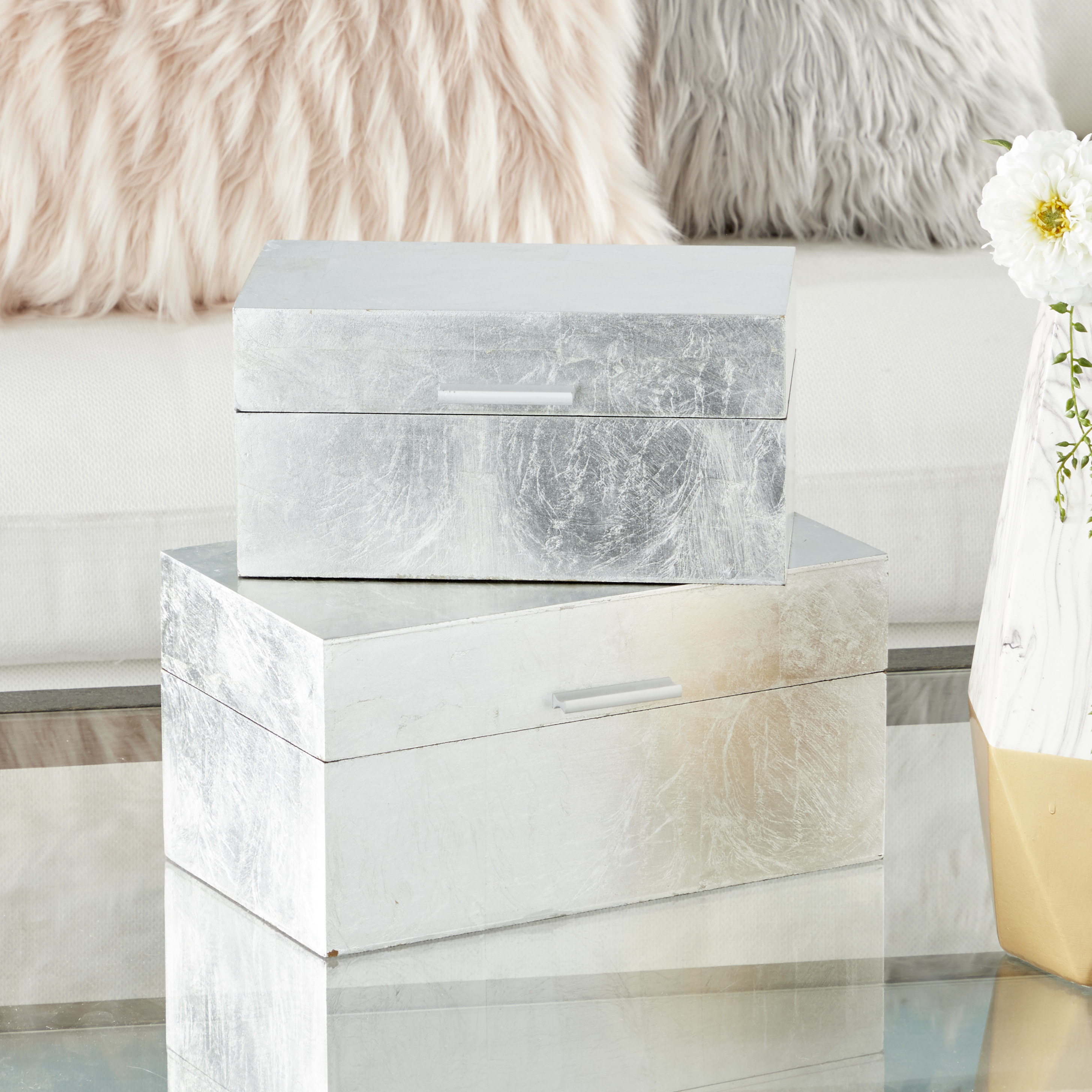 two silver leaf decorative boxes