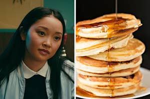 "On the left, Lana Condor as Lara Jean in ""To All the Boys I've Loved Before,"" and on the right, a stack of pancakes topped with maple syrup"