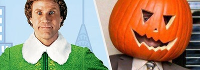 Buddy the Elf excited for Christmas next to Dwight from the Office with a pumpkin on his head