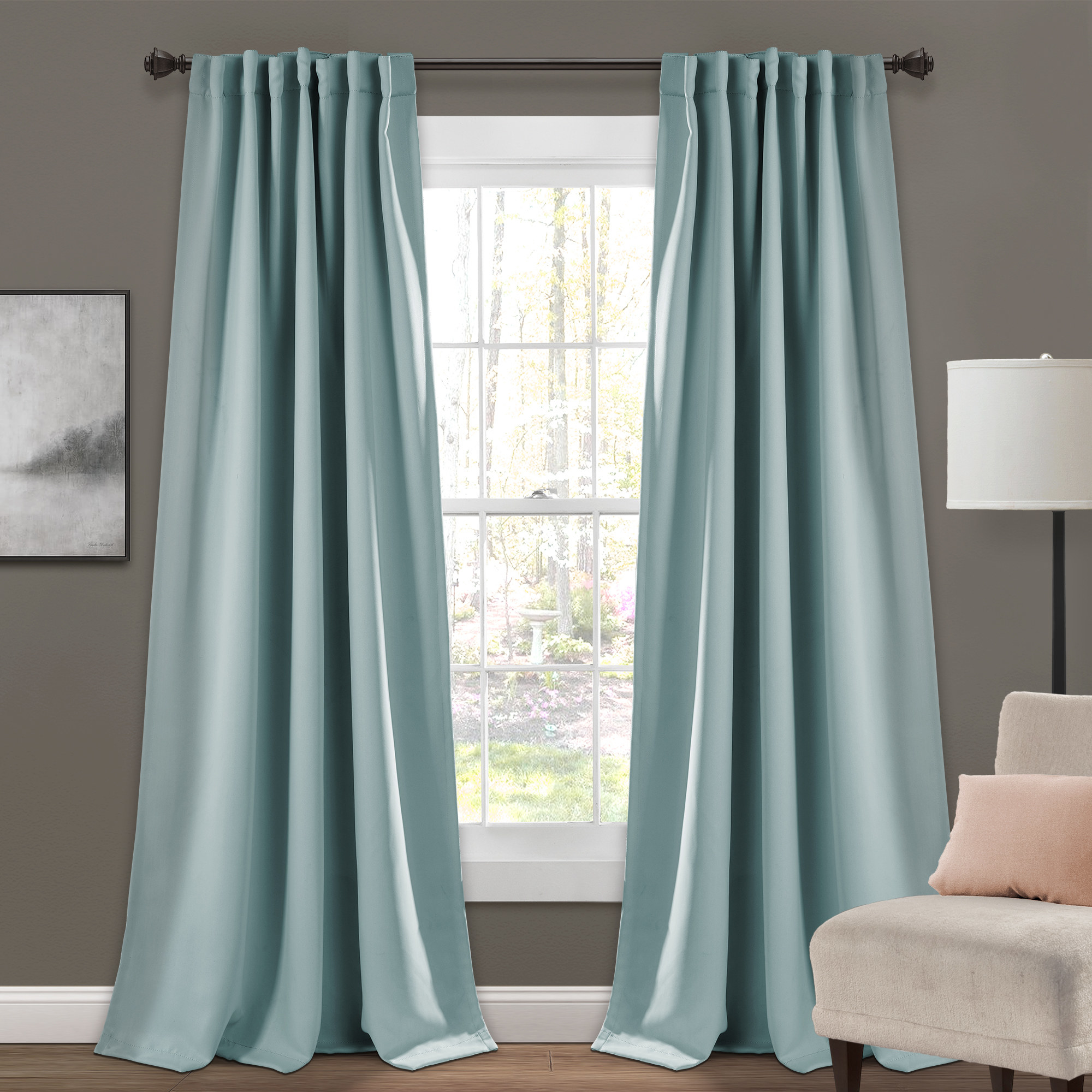 the curtains in blue