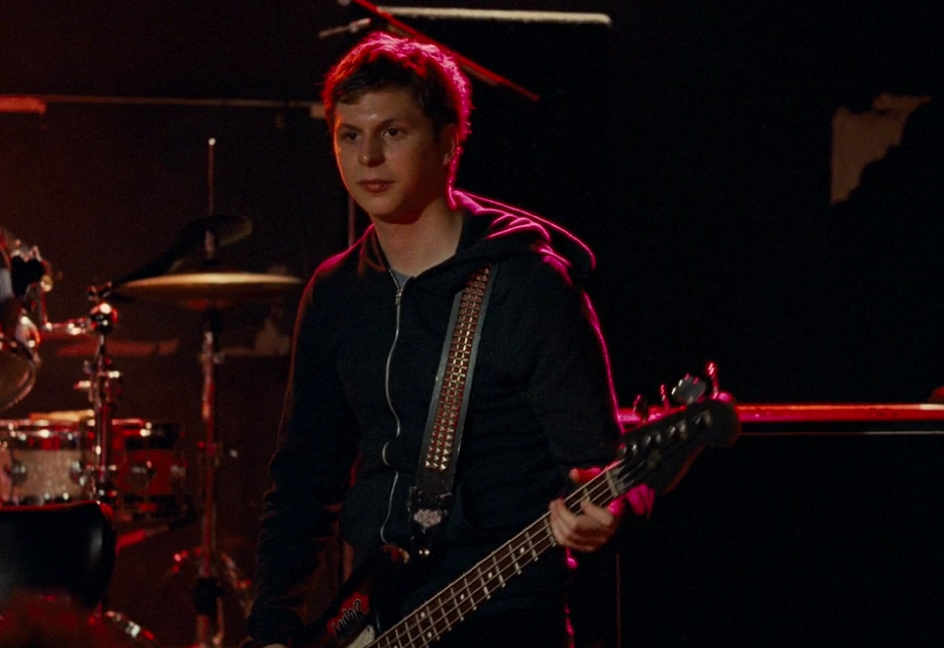 Michael Cera playing bass