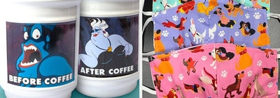 to the left: two sides of an ursula mug, to the right: disney dog printed face masks