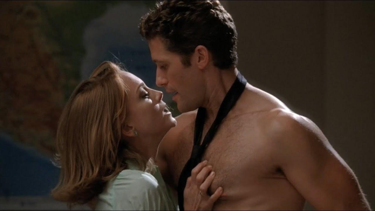 Emma grabbing Will's bare chest