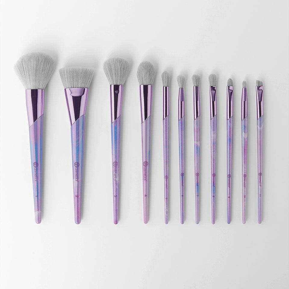 Set of 11 purple makeup brushes