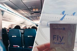 interior airplane photo; hand-sanitizing wipes being held in front of a plane window