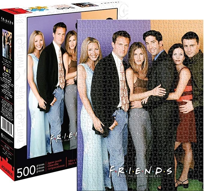 The puzzle, featuring a group pic of the six main characters