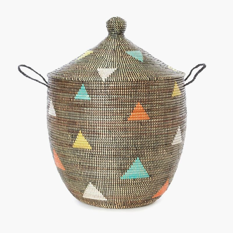 The basket with colorful triangles on it