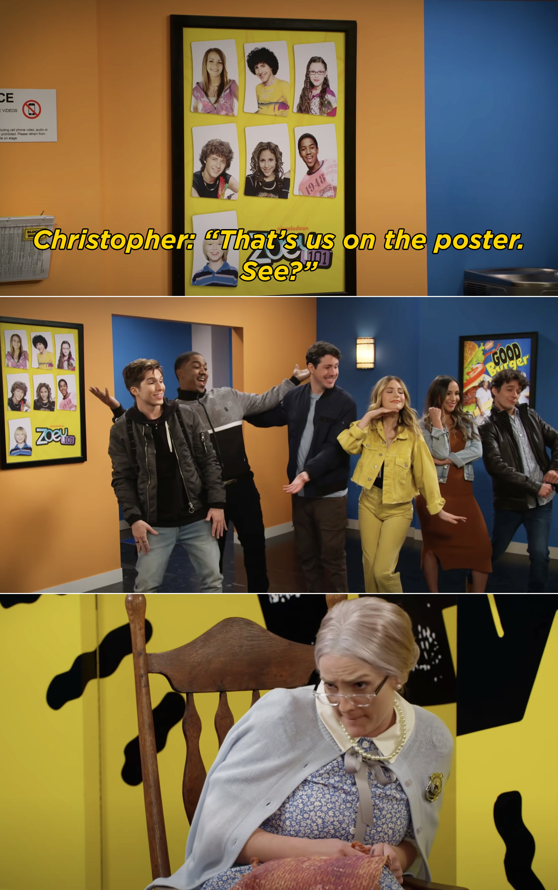 The Zoey 101 cast trying to prove to the elderly Thelma Stump that they are really the cast by posing like the poster