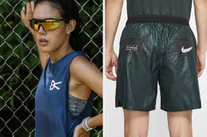 Blue tank paired with amber mirror sunglasses; Green textured running shorts with Nike swoosh on back