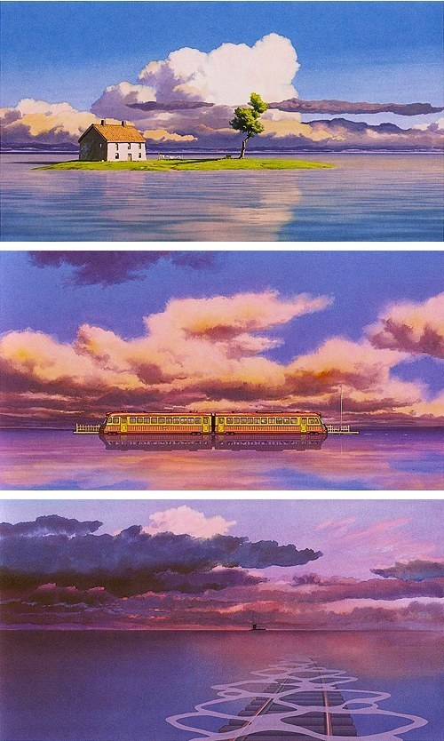 "Landscape images of the train going across the water in ""Spirited Away"""