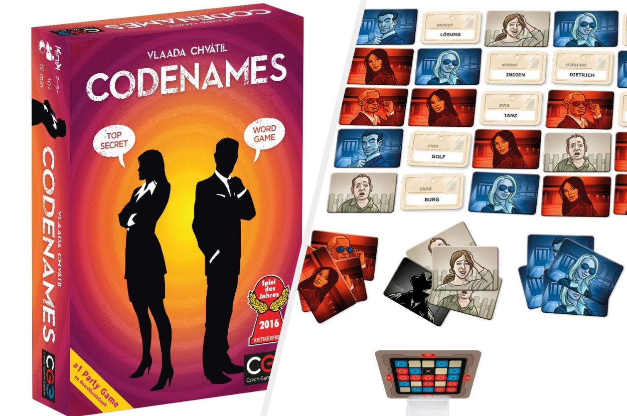 Box art of Codenames showing two silhouetted figures next to the game play cards