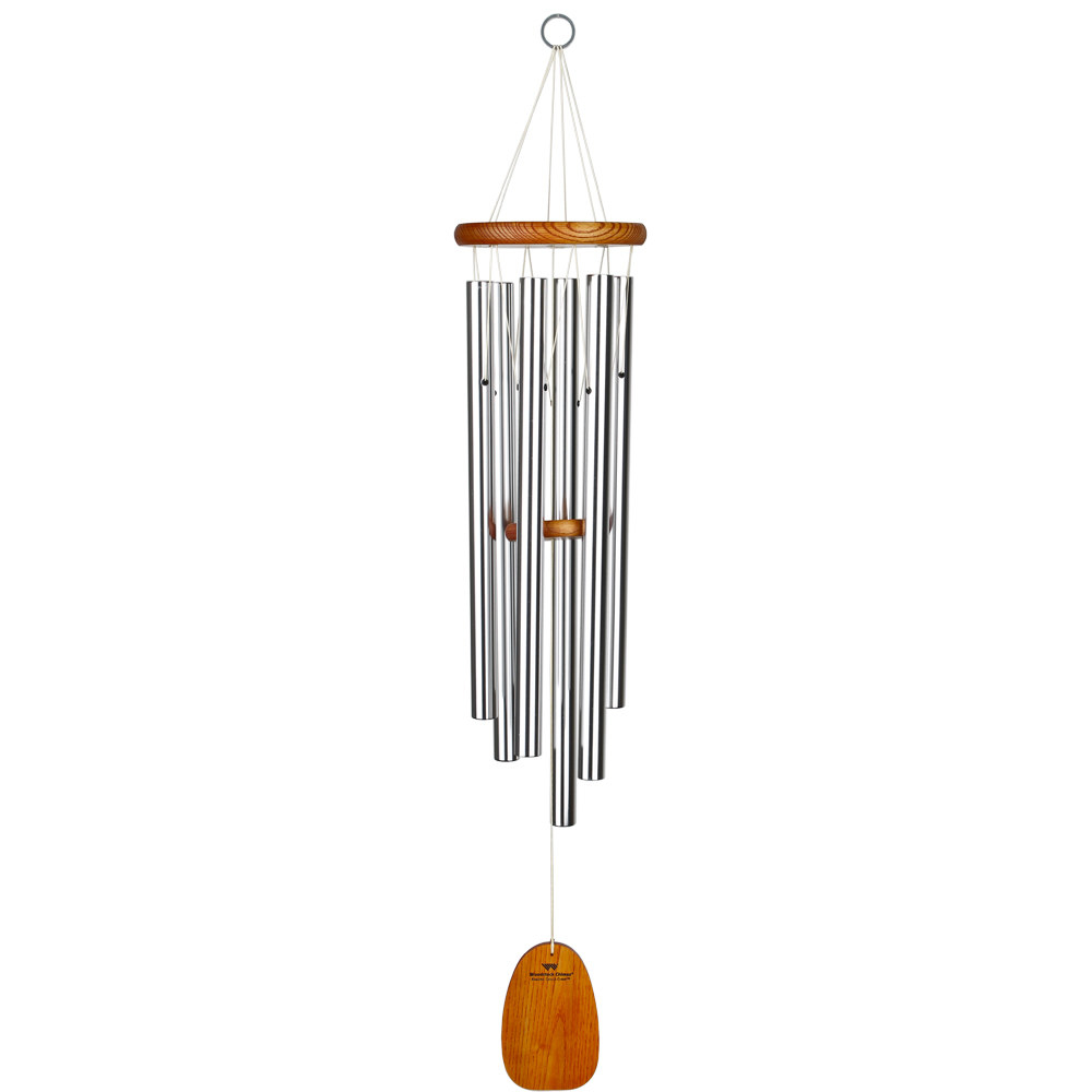 A set of metallic wind chimes with wooden accents
