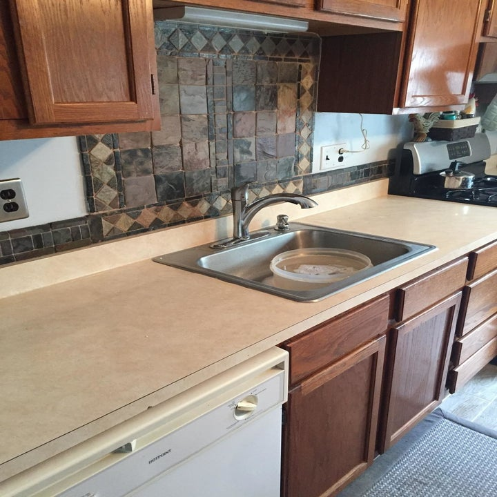 A reviewer's kitchen showing a plain brown countertop